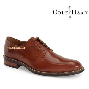 Cole Haan Men's Brown Leather Apron Toe Derby